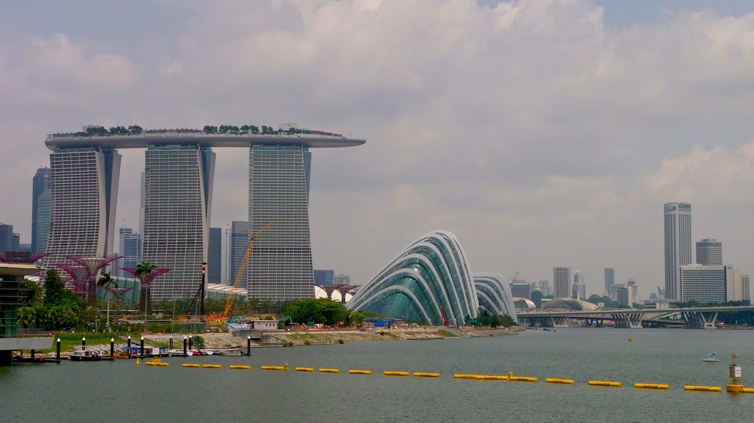 View of Singapore City from Marina Barage. Marina Bay Sands, and Gardens by the Bay.