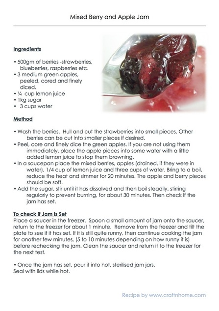 Printable Mixed Berry and Apple Jam Recipe