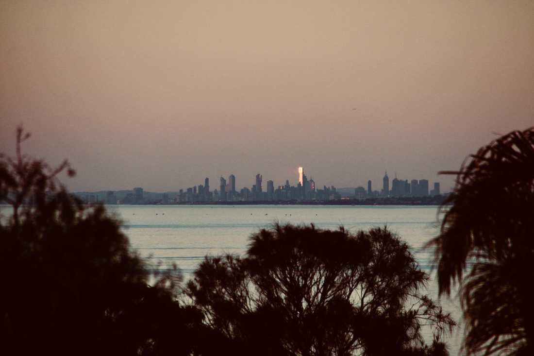 Sunset, with view of Melbourne city, Mount Eliza, Mornington Peninsula, Victoria, Australia