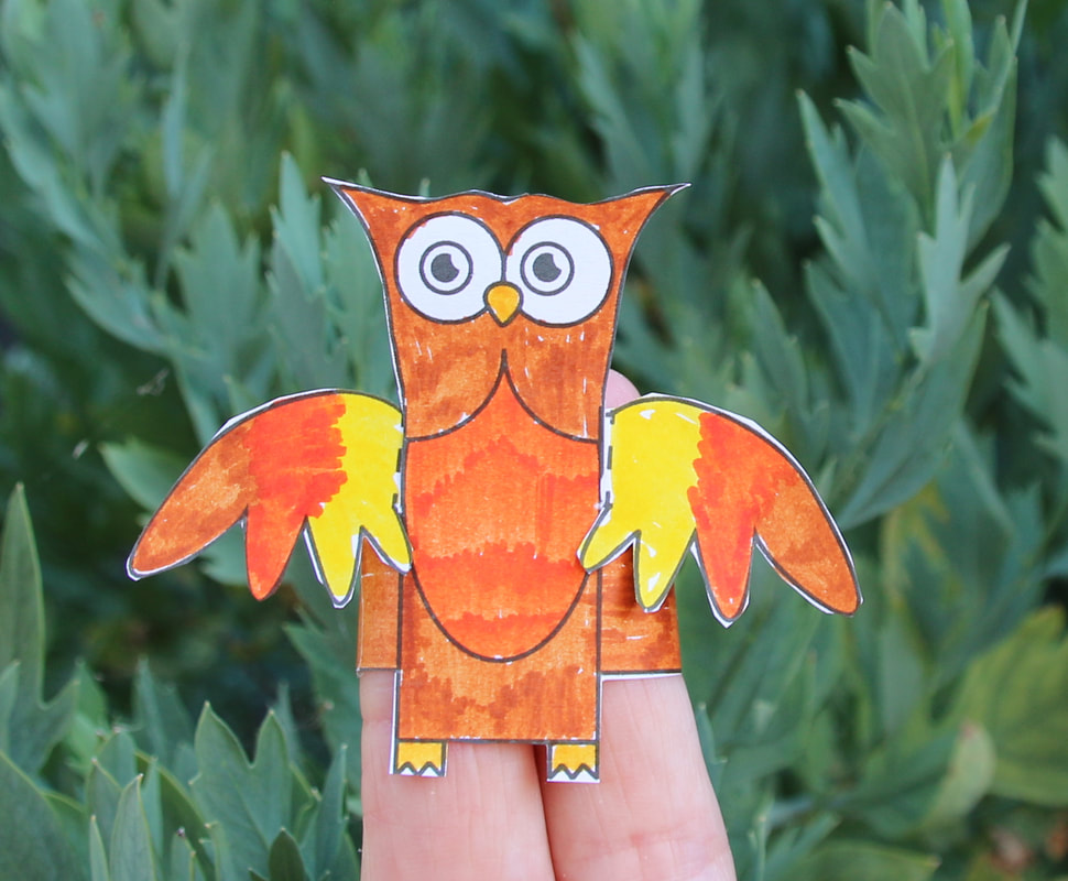 Owl Finger Puppet Craft for kids with free printable template and instructions