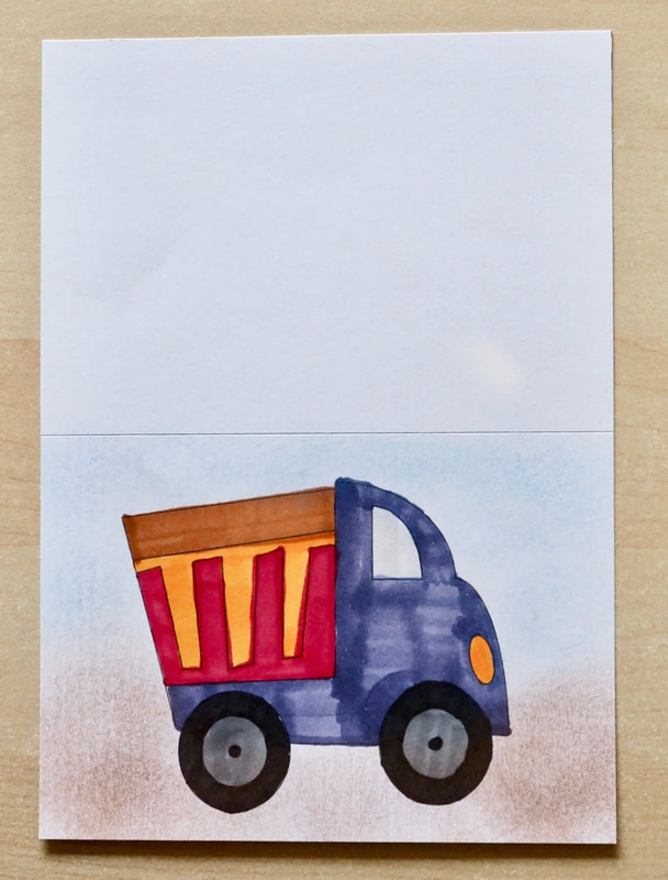 Dump Truck Card. Free printable template to make your own cards, for kids and adults.
