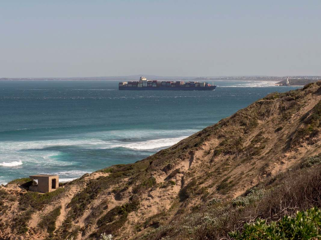 Container Ship heads into the entrance to Port Phillip Bay.Viewed from Point Nepean.