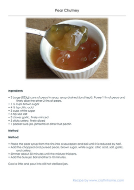 Printable Recipe for Pear Chutney made using tinned pears.