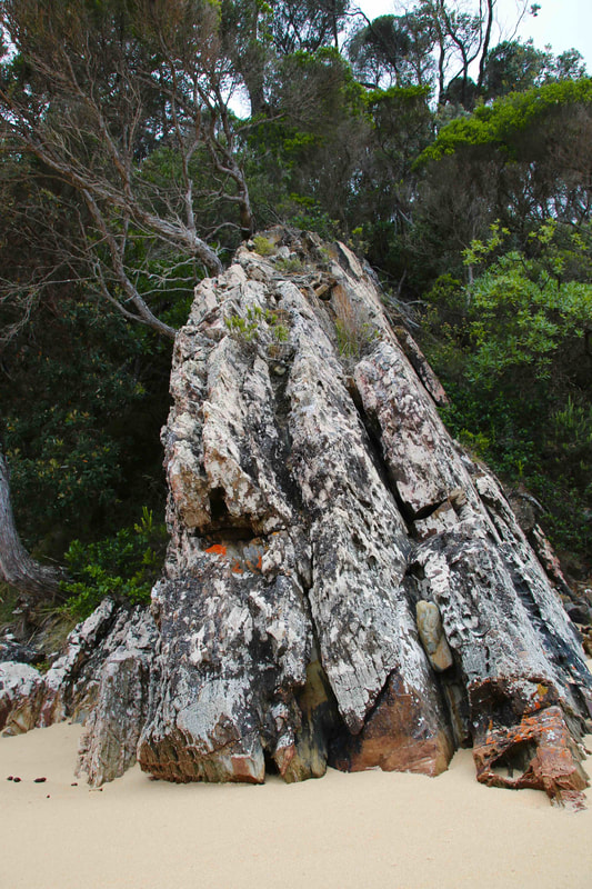 Unusual rock formations. Pebbly Beach, Mallacoota, Victoria, Australia