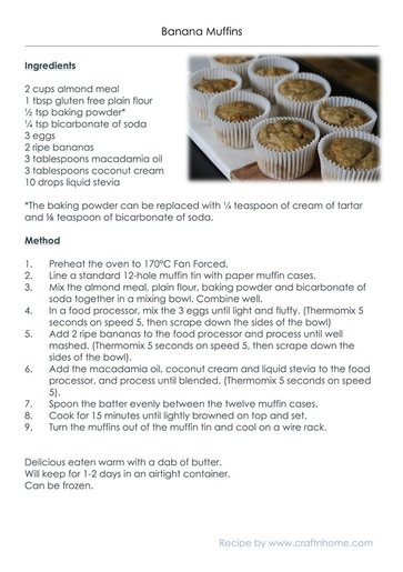 Banana Muffins. Gluten Free, Low Carb, No added Sugar, Dairy Free, Thermomix Instructions included.