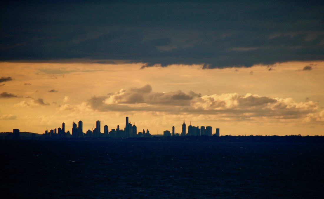 Sunset over Port Phillip Bay highlighting Melbourne City. Taken from Mount Eliza.