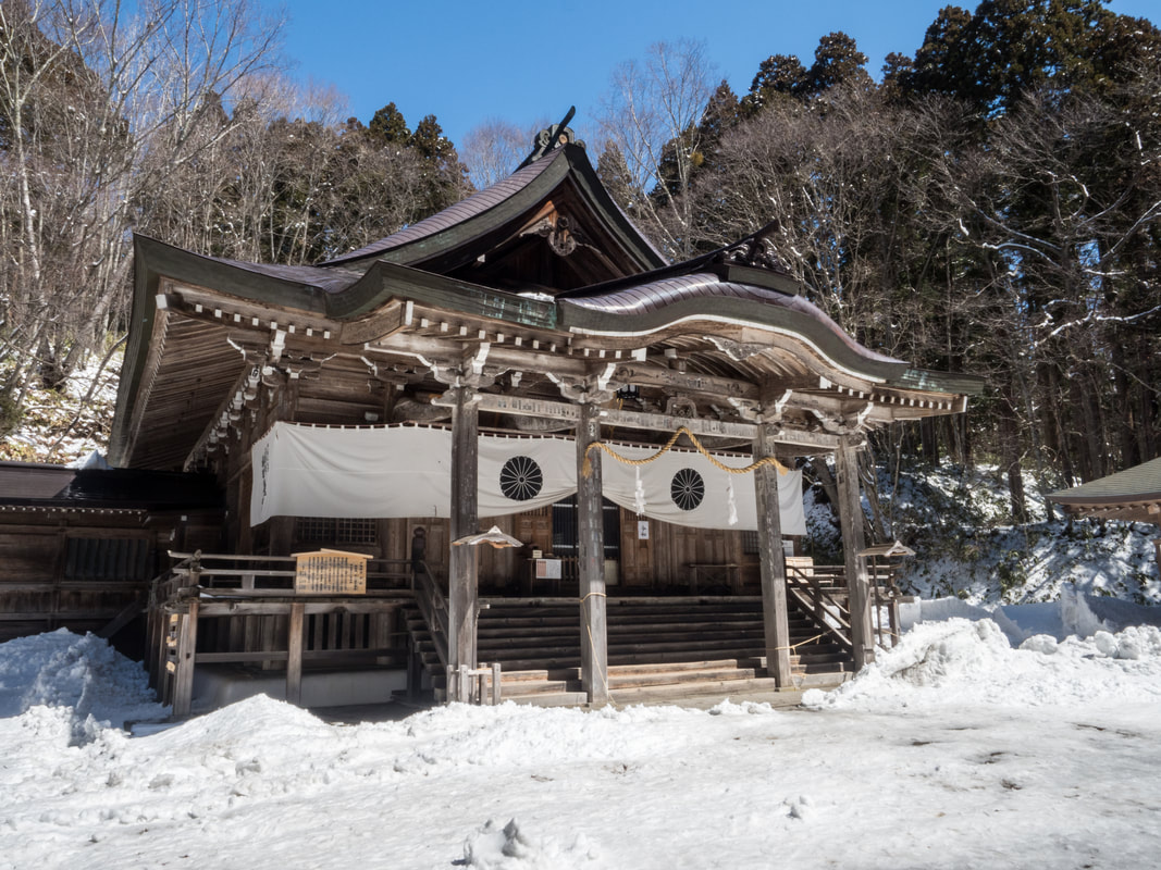 Main Shrine Building. Togakushi Middle Shrine. Mount Togakushi, Nagano Prefecture, Japan.